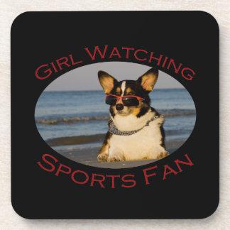 Girl Watching Sports Fan Drink Coasters