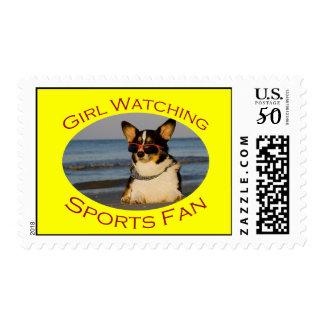 Girl Watching Sports Fan Postage