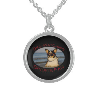 Girl Watching Sports Fan Sterling Silver Necklaces