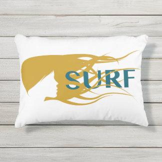 "Girl Watching Waves: Cotton Pillow 16"" x 12"""