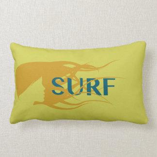 "Girl Watching Waves: Lumbar Pillow 13"" x 21"""