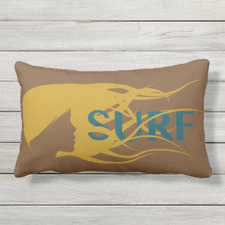 Girl watching waves: Outdoor Lumbar Pillow 13 x 21