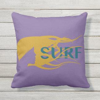 "Girl Watching Waves: Outdoor Throw Pillow 16"" x 16"