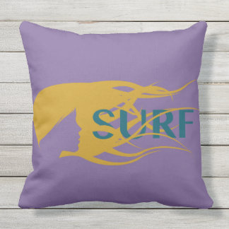 "Girl Watching Waves: Outdoor Throw Pillow 20"" x 20"
