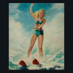 """Girl Water Skiing Pin Up Art Poster<br><div class=""""desc"""">Looking for vintage pinup girl art? You've come to the right place. Indulge in your vintage pinup passion with us. Pin Up Art features a variety of pin up girl photos from the 1910s to the 1950s.      This product features Girl Water Skiing vintage pin up girl art.</div>"""