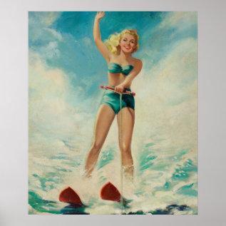 Girl Water Skiing Pin Up Art Poster at Zazzle