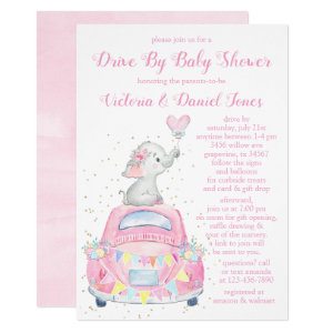 Pink Gray Elephant Car Drive By Baby Shower Invitations Girl Watercolor