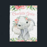 """Girl Watercolor Floral Elephant Personalized Fleece Blanket<br><div class=""""desc"""">Girl elephant blanket with adorable baby girl elephant with flowers on a pretty coral and pink floral background. This cute elephant blanket is easily personalized with the text of your choice. You can also add a background color.</div>"""