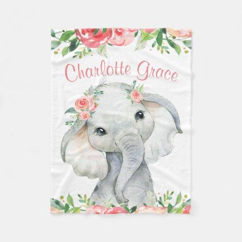 Girl Watercolor Floral Elephant Personalized Fleece Blanket