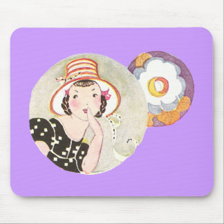 Girl Wearing Hat and Flower Mouse Pad