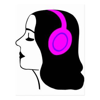 Girl Wearing Headphones Postcard