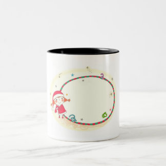 Girl wearing Santa costume Two-Tone Coffee Mug
