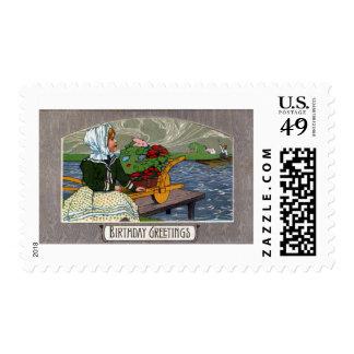 Girl, Wheelbarrow and Dock Art Nouveau Birthday Stamp