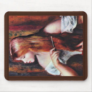 Girl When Combing,  By Pierre-Auguste Renoir Mousepad