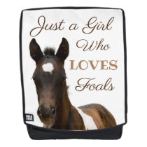 Girl Who Loves Foals Horse Backpack