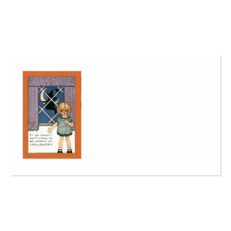 Girl Window Witch Crescent Moon Bat Business Card
