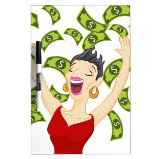 Girl Winning Money Cartoon Dry-Erase Whiteboards