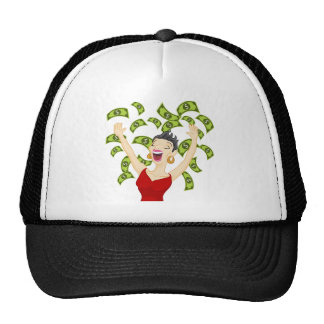 Girl Winning Money Cartoon Trucker Hat