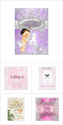 Girl Winter Baby Shower Invitations