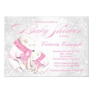 Girl Winter Wonderland Bear Baby Shower Invitation