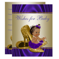 Girl Wishes for Baby Girls Purple Baby Shower Game Card
