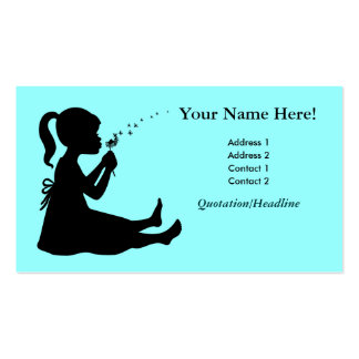 Girl wishing and blowing a dandelion flower business card