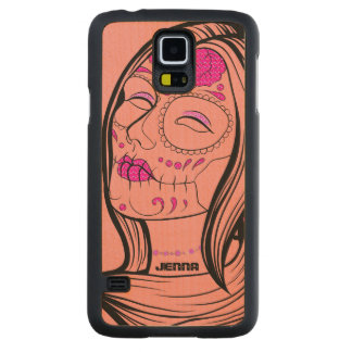 Girl Wit A Rose Floral Sugar Skull Carved® Maple Galaxy S5 Case