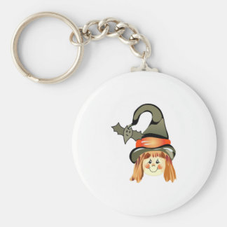 GIRL WITCH AND BAT KEYCHAIN