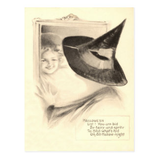 Girl Witch Mirror Postcard