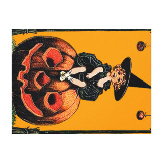 Girl Witch Smiling Jack O' Lantern Black Cat Canvas Print