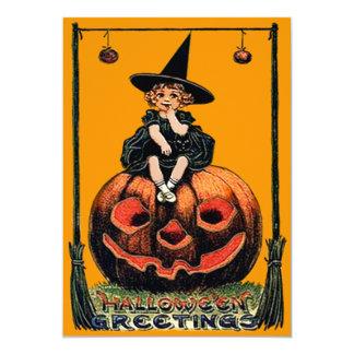 Girl Witch Smiling Jack O' Lantern Black Cat Card