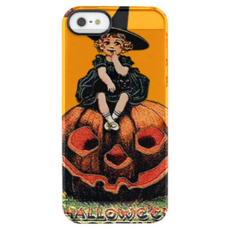 Girl Witch Smiling Jack O' Lantern Black Cat Clear iPhone SE/5/5s Case