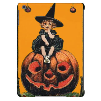 Girl Witch Smiling Jack O' Lantern Black Cat iPad Air Cases