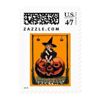 Girl Witch Smiling Jack O' Lantern Black Cat Postage