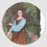 girl with a bascket classic round sticker