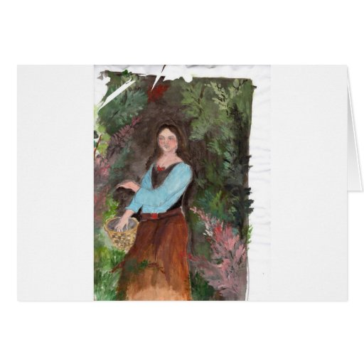 girl with a bascket greeting card
