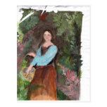 girl with a bascket postcard