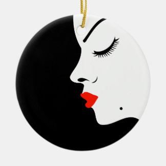 Girl with a beauty spot on chin ceramic ornament