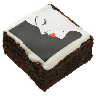 Girl with a beauty spot on chin chocolate brownie