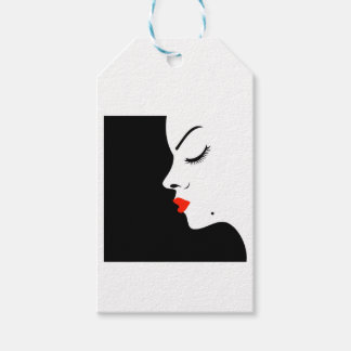 Girl with a beauty spot on chin gift tags