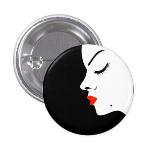 Girl with a beauty spot on chin pinback button