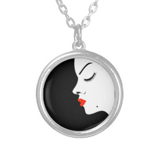 Girl with a beauty spot on chin silver plated necklace