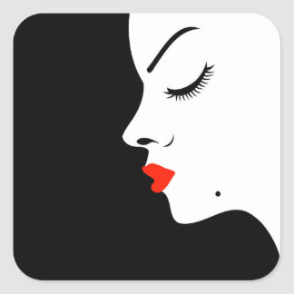 Girl with a beauty spot on chin square sticker