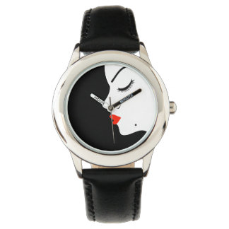 Girl with a beauty spot on chin wristwatches