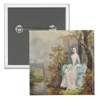 Girl with a Book Seated in a Park, c.1750 (oil on 2 Inch Square Button