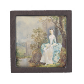 Girl with a Book Seated in a Park, c.1750 (oil on Gift Box