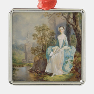 Girl with a Book Seated in a Park, c.1750 (oil on Metal Ornament