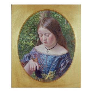 Girl with a Butterfly Poster