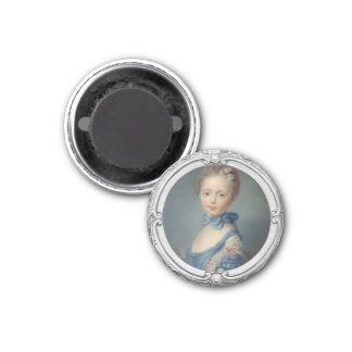 Girl with a cat 1 inch round magnet