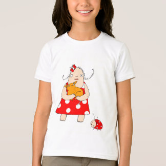 Girl with a cat and a ladybug T-Shirt
